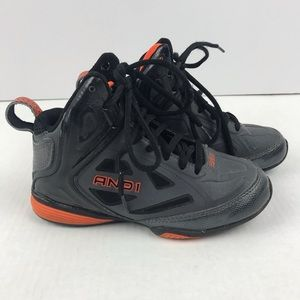 Other - 💖 Kids High Top Sneakers Size 1 Gray Orange Black